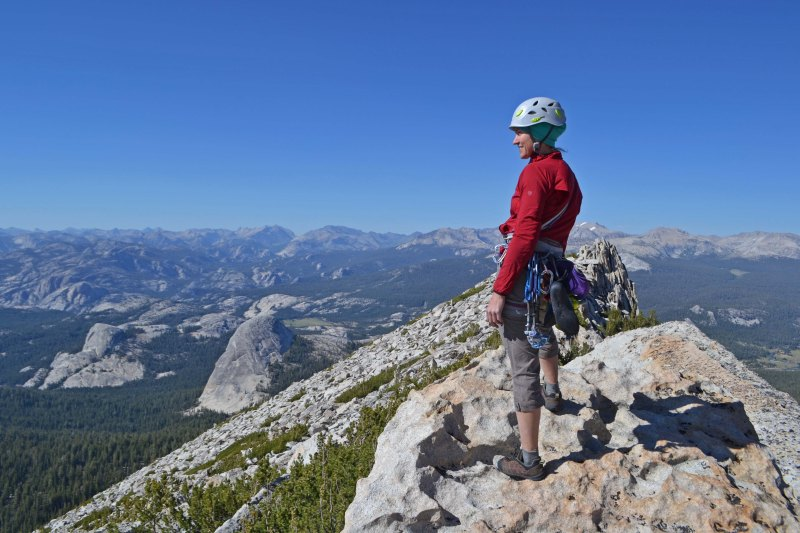 Paisley near the summit of Cathedral Peak. We roped up for the whole route and avoided the common strategy of soloing.