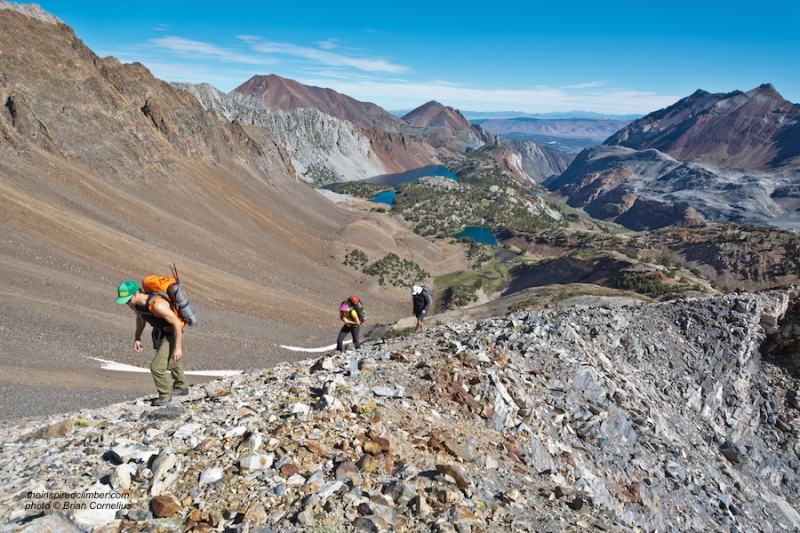 …towards the saddle at Red Slate Mt…