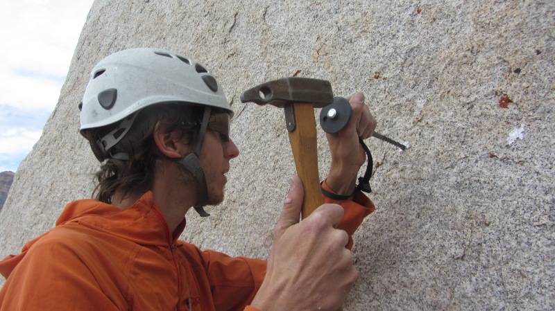 Aaron placing an anchor bolt low on Lenticular Gyrations